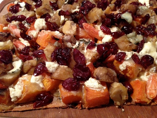 An amazing combo where chestnuts played a critical role: chestnuts, cranberries, goat cheese, and butternut squash all piled onto some flat bread.